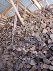 割って薪小屋に積まれた赤松の薪