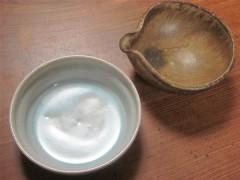 林檎灰釉と焼締の小鉢