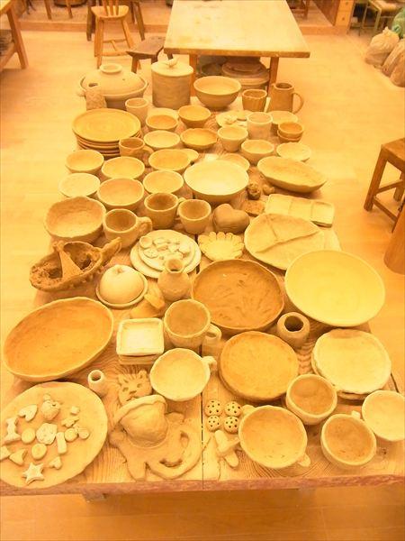 親子陶芸教室の作品