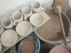 穴窯の釉掛け