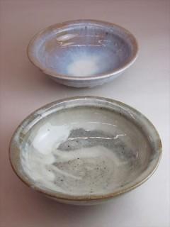 藁灰釉と林檎灰釉の鉢