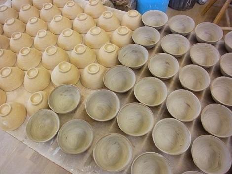 飯碗 刷毛目 粉引 陶芸