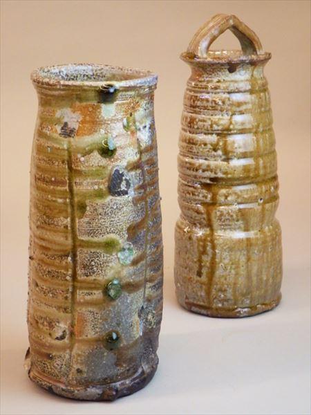 灰釉 自然釉 登り窯 ギャラリー安里 草來舎 展示会 和食器 花入れ 花瓶 信楽