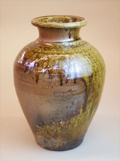 灰釉 自然釉 登り窯 ギャラリー安里 草來舎 展示会 和食器 花入 壺 花瓶 信楽