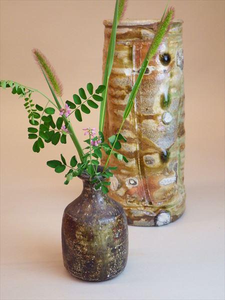 草來舎 和食器 展示会 スペース高輪 自然釉 焼き締め 花入れ 花器 花瓶 販売 灰釉
