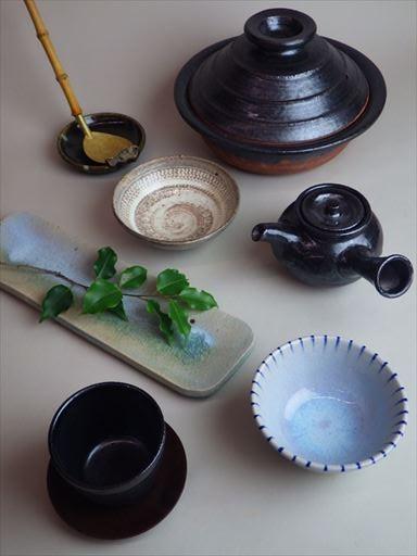 草來舎 展示会 ギャラリー安里 和食器 灰釉 自然釉 信楽 鉢 皿 花瓶