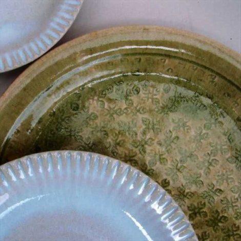 草來舎 和食器 皿 プレート 灰釉 登り窯 林檎灰釉 松灰釉