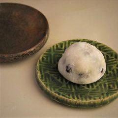 草來舎 和食器 皿 小皿 市松模様 灰釉 登り窯 織部 木葉皿